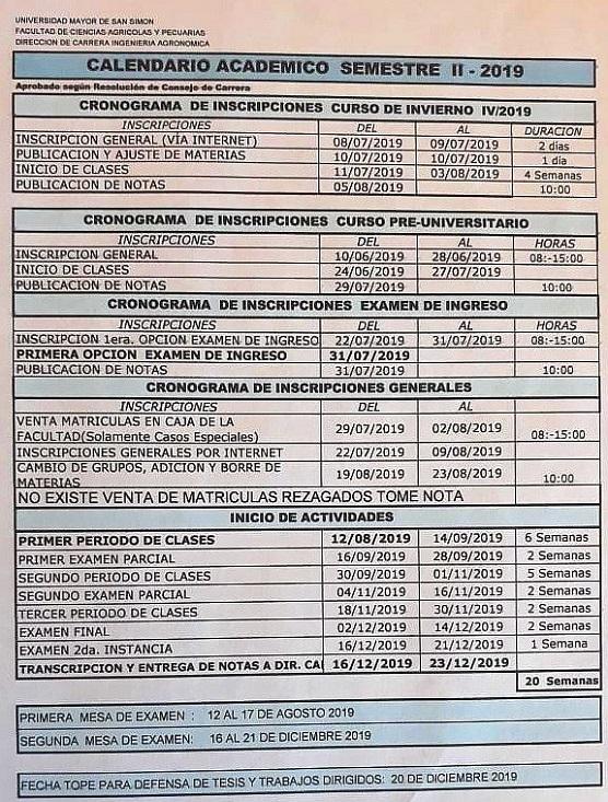 Calendario De Tesis.Calendario Academico Facultad De Ciencias Agricolas